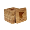 Engraved Bamboo Coaster Set - Square - MN Nice - (10 Coasters/Set)