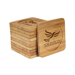Engraved Bamboo Coaster Set - Square - UK Lib Dems - (10 Coasters/Set)