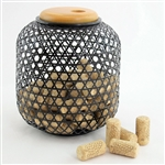 Woven Bamboo Wine Cork Collector Cage Display 7""