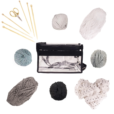 12pc DIY Bamboo Knitting Kit | 477 Yards of Yarn! - Black