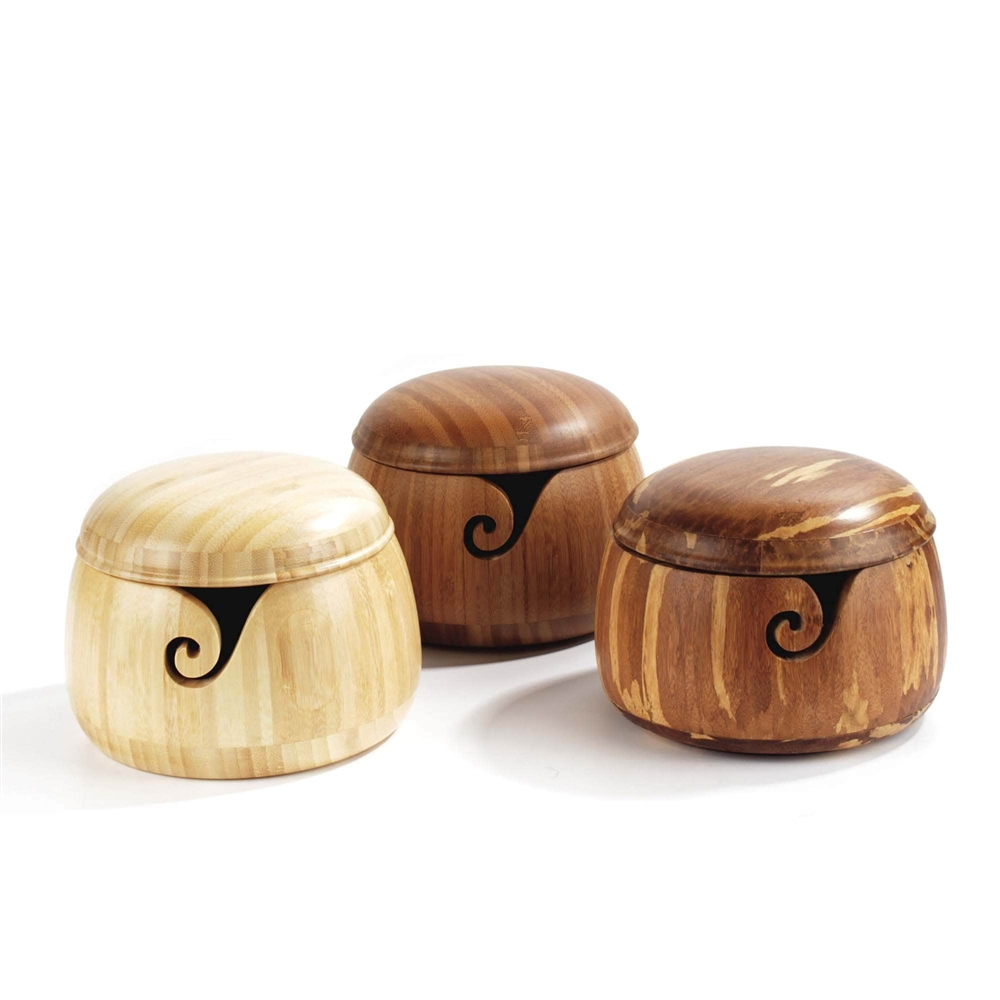 Bamboo Yarn Bowl With Removable Lid Yarn Holder For Knitting And
