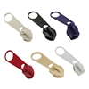 Durable, strong metal zipper pulls available in 6 colors.