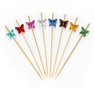 Acrylic Butterfly Bamboo Cocktail Pick Skewers