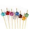 Acrylic Flower Bamboo Cocktail Pick Skewers, Party Supplies