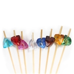 Acrylic Gem Jewel Bamboo Cocktail Pick Skewers, Party Supplies