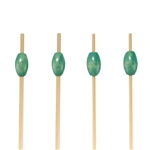 "3.5"" Decorative Green Bead Bamboo Picks Skewers, Party Supplies"