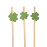 Decorative Clover Shamrock Bamboo Picks Skewers, Party Supplies
