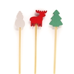 BambooMN Christmas Holiday Bamboo Picks Sandwiches Cocktails - Pinetree, Reindeer, Snowman Designs