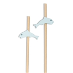 Blue Fish Dolphin Animal Decorative Bamboo Picks, Party Supplies