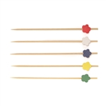 Decorative Premium Bamboo Flower Ends Picks Skewers, Party Supplies