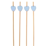 Premium Decorative Blue Bamboo Heart Picks Skewers, Party Supplies