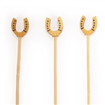 Premium Decorative Bamboo Gold Lucky Horseshoe Picks, Party Supplies