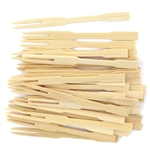 "3.5"" Premium Bamboo Mini Cocktail Tasting Forks Picks Skewers, Party Supplies"