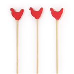 Premium Decorative Red Rooster End Bamboo Picks Skewers, Party Supplies
