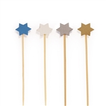 BambooMN Holiday 6-Point Star Bamboo Picks Skewers for Fruit Sandwiches Cocktails - Blue, White, Gold, Silver