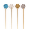 BambooMN Winter Snowflake Bamboo Picks Skewers for Appetizers Cocktails - Blue, White, Gold, Silver