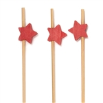 Premium Decorative Red Star End Bamboo Picks Skewers, Party Supplies