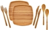 Bamboo Dinnerware for Camping Hiking Backpacking Picnics