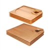 "7"" x 5.9"" Bamboo Cocktail Appetizer Plates with Wine Glass Holder, 4, 10 or 40 Pieces"