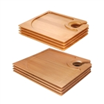 Bamboo Cocktail Appetizer Plates with Wine Glass Holder, 4, 10 or 40 Pieces