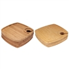 Bamboo Cocktail Appetizer Square Plates with Wine Glass Holder, 4, 10 or 30 Pieces