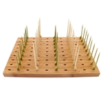 "14"" x 9.8"" Bamboo Paddle Skewers Holder Food Display Stand w/ 90 Holes"