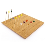 "12"" x 11.8"" Bamboo Skewer Holder Food Display Stand w/ 100 Holes"