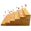 "5"" x 14"" Food Display Bamboo Step Skewers Stand w/ 180 Holes, Natural Color"
