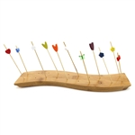 "12"" x 3"" Food Display S-Wave Bamboo Skewers Stand w/ 20 Holes, Natural Color"