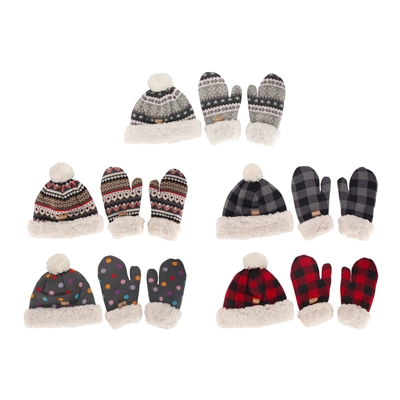 women's pom pom beanie and mittens set