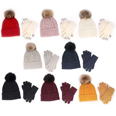 Women's Classic Winter Pom Pom Beanie Hat and Gloves Set