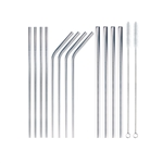 Assorted Reusable Stainless Steel Metal Drinking Straws w/ Cleaning Brush