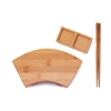 Bamboo Fan Sushi Board Tray, Chopsticks and Compartment Sauce Dish, Various Sizes