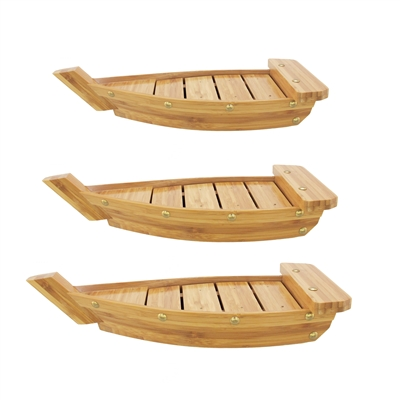 Bamboo Sushi Display Serving Board Tray Boat, 3 Sizes, Brown