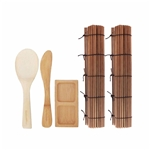 Sushi Rolling Kit - 2x Carbonized Brown Mats, 1x Paddle, 1x Spreader - 1 Set