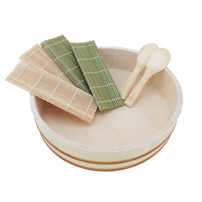 Sushi Oke Tub (Hangiri) - 7 Pieces Sushi Making Accessory Pack