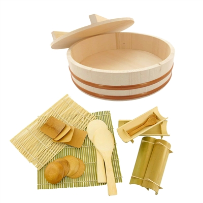 Sushi Oke Tub Lid (Hangiri) with Sushi Making Accessory Pack - 19 pcs/set
