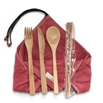 Travel Utensils with 2 Rayon from Bamboo Washcloth Wraps