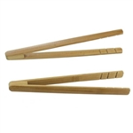 "BambooMN Small Reusable Bamboo Straight Arm ""A"" Tongs - 6.3"" Carbonized Brown"