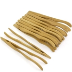 "BambooMN 7"" Reusable Bamboo Curved Arm Toast Tongs - Carbonized Brown"
