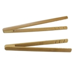 "Small Reusable Bamboo Straight Arm ""A"" Tongs - Carbonized Brown"