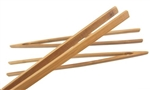 "BambooMN 12"" Reusable Bamboo Straight Arm Toast Tongs - Carbonized Brown"