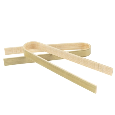 "BambooMN 3.9"" Mini Bamboo Disposable Tongs"