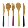 "BambooMN 8"" Colored Team Spirit Bamboo Dinner Utensil Sets"