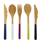 "8"" Colored Team Spirit Bamboo Dinner Utensil Sets"