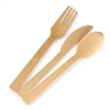 "BambooMN 6.7"" Disposable Bamboo Veneer 3 Piece Flatware Set"