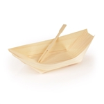 "5.5"" Wood Boat & Mini Fork Dinnerware Set"