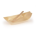 "7.9"" Wood Boat & Fork Dinnerware Set"
