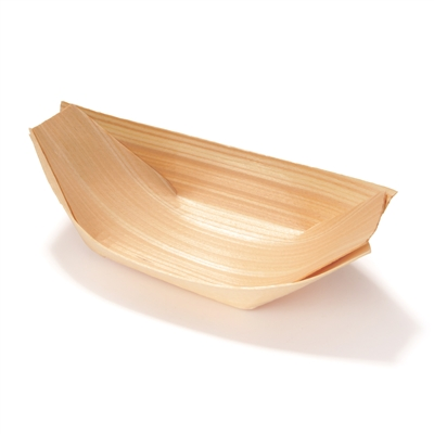 Disposable Wood Serving Boat Food Trays