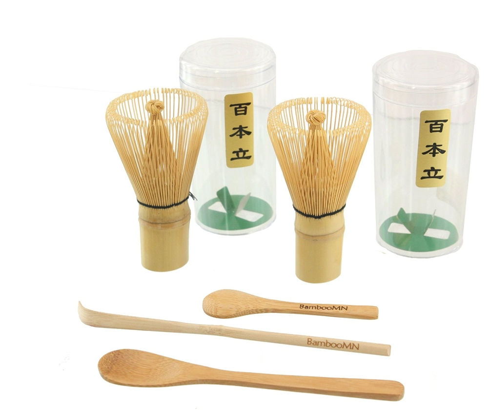 Green Tea Whisk Chasen and Small Scoop for preparing Matcha 1x BambooMN Brand